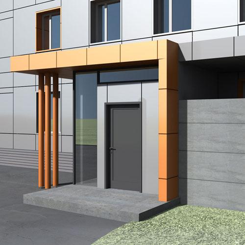 входные двери на здании оформление